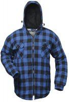 FELDTMANN, Kälte-Schutz-Winter-Thermo-Arbeits-Berufs-Hemd, mit Kapuze, ALBERTA, blau/schwarz karier