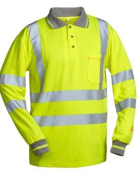 F-SAFESTYLE-UV- und Warn-Schutz-Langarm-Poloshirt, LUCA, fluoreszierend gelb