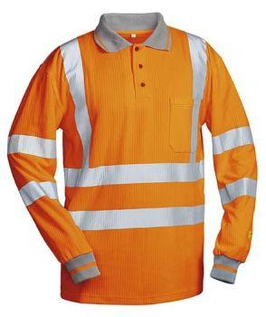 F-SAFESTYLE-UV- und Warn-Schutz-Langarm-Poloshirt, ANTONIO, fluoreszierend orange