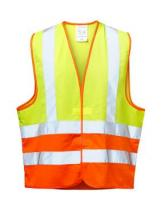 F-WICA-TEX-Warn-Schutz, Arbeits-Sicherheits-Berufs-Weste, *HAJO*, gelb/orange