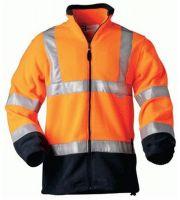 F-ELYSEE, Warn-Schutz-Fleece-Arbeits-Berufs-Jacke, BENEDIKT, fluoreszierend orange, marine