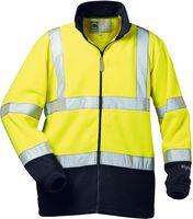 FELDTMANN, Warn-Schutz-Fleece-Arbeits-Berufs-Jacke, VALENTIN, fluoreszierend gelb/marine ab