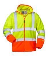 F-ELYSEE-Warn-Schutz-Arbeits-Berufs-Jacke, Fleecejacke, *LEO*, fluoreszierend gelb/orange