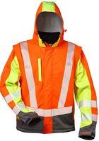 F-ELYSEE-Warn-Schutz-Arbeits-Berufs-Jacke, Softshell Jacke, *ATANAS*, fluoreszierend orange/gelb/grau