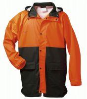 F-NORWAY-PU Forst-Arbeits-Schutz-Regen-Berufs-Jacke, PAPPEL, grün/orange