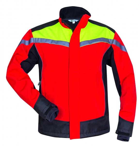 F-ELYSEE-Waldarbeiter-Softshell Jacke, *ESCHE*, rot/gelb/schwarz