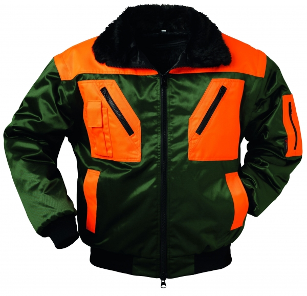 F-NORWAY, Winter-Piloten-Arbeits-Berufs-Jacke, ROTDORN, grün/orange
