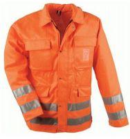 F-Forst-Arbeits-Schnitt-Schutz-Berufs-Jacke, mit Schnittschutz, LINDE, fluoreszierend orange