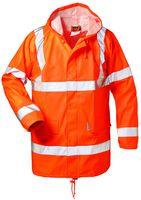 F-NORWAY PU-Stretch Warn-Schutz-Regen-Arbeits-Berufs-Jacke FINN, fluoreszierend orange