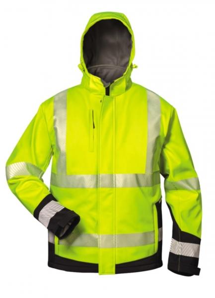 FELDTMANN, Warn-Schutz-Winter Softshell Arbeits-Berufs-Jacke, MELVIN, fluoreszierend gelb,