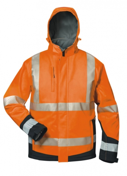 FELDTMANN, Warn-Schutz-Winter Softshell Arbeits-Berufs-Jacke mit Kapuze, LUKAS, fluoreszier