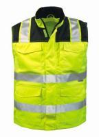 F-ELYSEE-2 in 1-Warn-Schutz, Arbeits-Sicherheits-Berufs-Weste, Weste, GREGOR, fluoreszierend gelb/schwarz