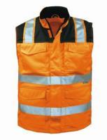 F-ELYSEE-2 in 1-Warn-Schutz, Arbeits-Sicherheits-Berufs-Weste, MIRKO, fluoreszierend orange/schwarz