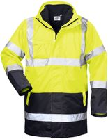 FELDTMANN 4-in-1 Warn-Schutz-Arbeits-Berufs-Parka TRAVIS, fluoreszierend gelb/marine