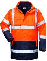 FELDTMANN 4-in-1 Warn-Schutz-Arbeits-Berufs-Parka TRAVIS, fluoreszierend orange/marine abg