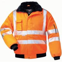 F-ELYSEE, Warn-Schutz-Piloten-Arbeits-Berufs-Jacke, GUSTAV, fluoreszierend, orange