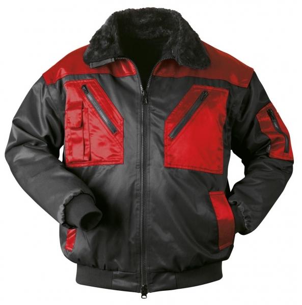 F-NORWAY, Winter-Piloten-Arbeits-Berufs-Jacke, LEVANGER, schwarz/rot abgesetzt