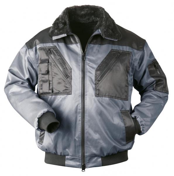 F-NORWAY, Winter-Piloten-Arbeits-Berufs-Jacke, TROMSOE, grau/schwarz abgesetzt