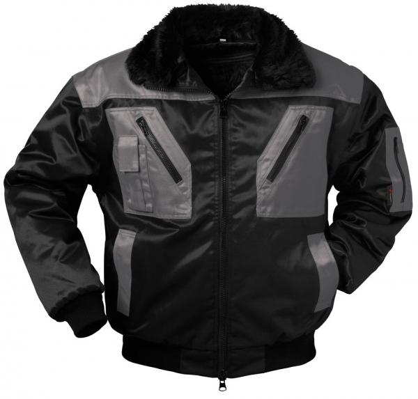 F-NORWAY, Winter-Piloten-Arbeits-Berufs-Jacke, ASKIM, schwarz/grau abgesetzt