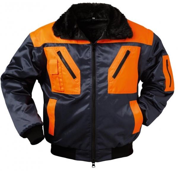 F-NORWAY, Winter-Piloten-Arbeits-Berufs-Jacke, HALDEN, marine/orange abgesetzt