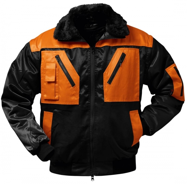 F-NORWAY, Piloten-Winter-Arbeits-Berufs-Jacke, OSLO, schwarz/orange
