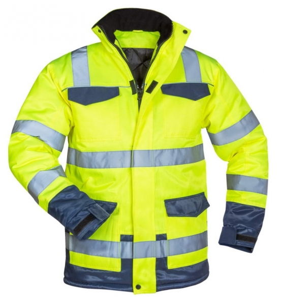 F-SAFESTYLE-Warnschutz-Parka, *HINNERK*, fluoreszierend gelb/marine