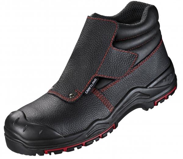 F-S3-CRAFTLAND-Schweißer-Sicherheits-Arbeits-Berufs-Schuhe, *EISENACH ÜK*, HRO, SRC, schwarz/rot abgesetzt