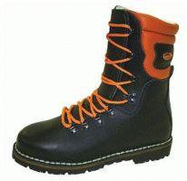F-S3-TREEMME-Sicherheits-Arbeits-Berufs-Schuhe, Forstarbeiter-Schnürstiefel, *EIBE*, schwarz/orange abgesetzt