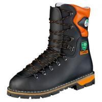 F-S3-TREEMME-Forstarbeiter-Arbeits-Berufs-Schuhe, Schnürstiefel, *EIBE*, schwarz/orange abgesetzt
