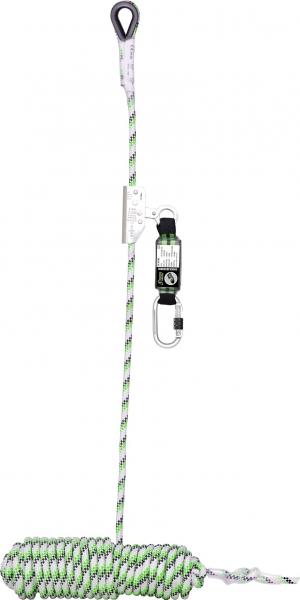 F-Absturzsicherung, mitlaufend, 10 m, Seilkürzer mit Bandfalldämpfer, EN 353-2