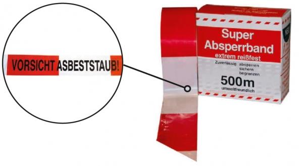 F-FELDTMANN-Warn-Artikel-Produkte, Absperrband, Achtung Asbeststaub  500 m