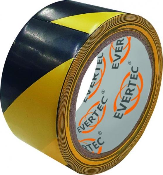 F-EVERTEC-Bodenmarkierungs- und Warnband, 50 mm x 25 m, schwarz/gelb