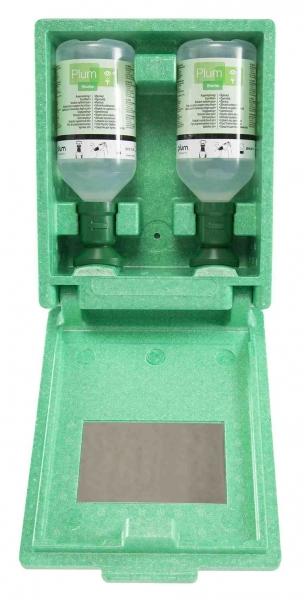 F-PSA-PSA-Erste Hilfe, Augen-Spülstation in Wandbox, 2X500ML Augenspüllösung, Spiegel