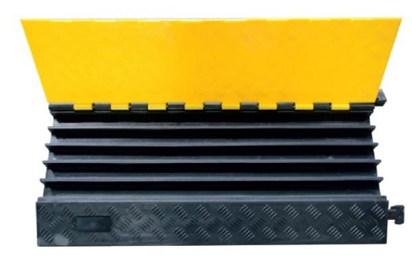F-Elektro-Kleinartikel, Kabelbrücke, 5 Kanal mit Deckel, schwarz/gelb