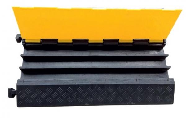 F-Elektro-Kleinartikel, Kabelbrücke, 3 Kanal mit Deckel, schwarz/gelb