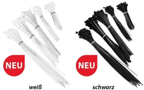 F-FELDTMANN-Handwerks-Bedarf, Kabelbinder-Set, verschiedene Größen,  Beutel á 250 Stück, weiß