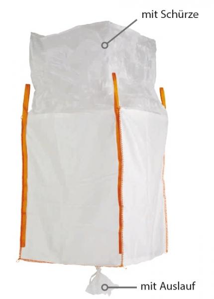 F-FELDTMANN-TECTOR-Bags-Transport-Entsorgung-Container-Säcke, Big-Bag, mit Schürze & Auslauf, 90 x 90 x 165 cm, beschichtet, 4 Schlaufen, Tragkraft: 1250 KG