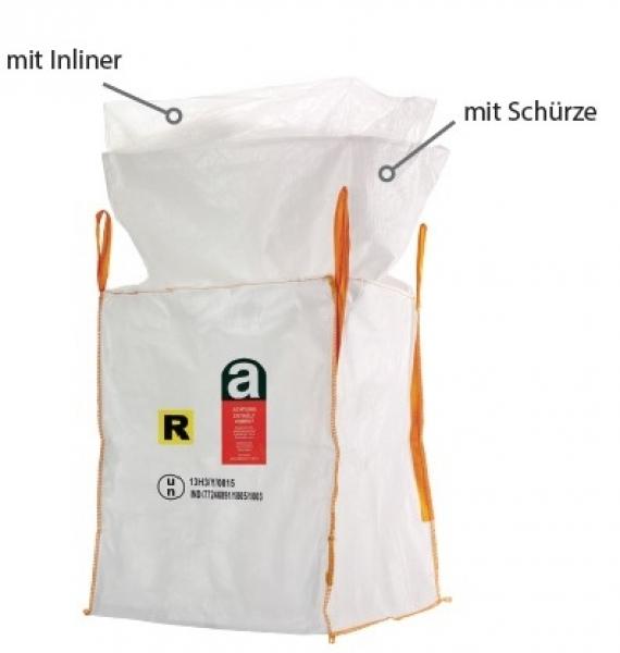 F-FELDTMANN-TECTOR-Bags-Transport-Entsorgung-Container-Säcke, Big-Bag, UN Gefahrgut, Asbest, 13H3Y, SF 6:1, mit Inliner und Schürze, 90 x 90 x 110 cm, Tragkraft: 1000 KG
