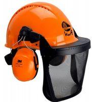 3M-PSA-Schutzhelm-Kombination G3000M, mit H31P3E und 5B, Ratschensystem, Visier Nylongitter, orange