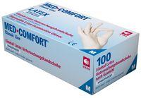 AMPRI-Einweg-Latex-Einmal-Handschuhe, MED COMFORT, leicht gepudert, unsteril, VE = Pkg. á 100 Stück, weiß