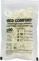 AMPRI-Einweg-Latex-Einmal-Fingerlinge, MED COMFORT, gerollt, puderfrei, unsteril, VE = Pkg. á 100 Stück, transparent