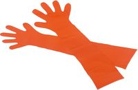 AMPRI-Einweg-PE-Einmal-Veterinär-Handschuhe, MED COMFORT, unsteril, ca. 90 cm lang, VE = Pkg. á 50 Stück, orange