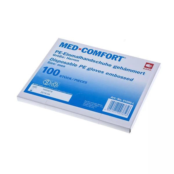 AMPRI-Einweg-PE-Handschuhe, Einmal-Untersuchungs-Handschuhe, MED COMFORT, gehämmert, 30 cm, VE = Pkg. á 100 Stk.