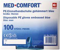 AMPRI-Einweg-PE-Einmal-Handschuhe, MED COMFORT, gehämmert, unsteril, ca. 30 cm lang, VE = Pkg. á 100 Stück, blau