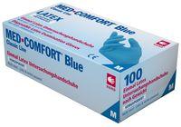 AMPRI-Einweg-Latex-Handschuhe, Einmal-Untersuchungs-Handschuhe, BLUE COMFORT, gepudert, unsteril, blau, VE = Pkg. á 100 Stk.