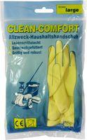 AMPRI-Latex-Haushalts-Arbeits-Handschuhe, CLEAN COMFORT, baumwollgefüttert, lebensmittelgeeignet, VE = Pkg. á 12 Paar, gelb