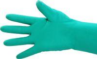 AMPRI-Nitril-Industrie-Arbeits-Handschuhe, CLEAN EXPERT NITRIL, chloriert, latexfrei, baumwollbeflockt, VE = Pkg. á 12 Paar, grü