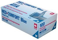 AMPRI-Einweg-Vinyl-Einmal-Untersuchungs-Handschuhe, MED COMFORT BLUE, puderfrei, unsteril, VE = Pkg. á 100 Stück, blau