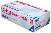 AMPRI-Einweg-Vinyl-Einmal-Untersuchungs-Handschuhe, ECO PLUS SUPERSTRETCH, puderfrei, unsteril, VE = Pkg. á 100 Stück, weiß