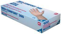 AMPRI-Einweg-Vinyl-Einmal-Untersuchungs-Handschuhe, MED COMFORT 300, puderfrei, unsteril, VE = Pkg. á 100 Stück, weiß
